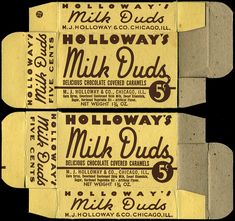 Holloway's Milk Duds candy box ~ 1930s 1940s