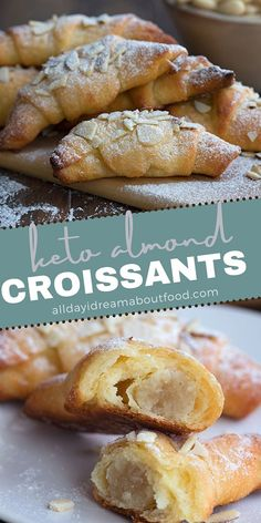 These delicious keto croissants are made with fathead dough and stuffed with sugar-free almond paste. A wonderful low carb pastry with your morning coffee. Low Carb Sweets, Low Carb Desserts, Low Carb Recipes, Dessert Recipes, Cooking Recipes, Dinner Recipes, Healthy Recipes, Almond Croissant, Croissant Recipe
