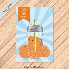 Hand drawn bottle with orange juice flyer