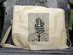 Filmstrip head screen printed paratrooper bag