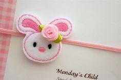 Easter Headband  Felt Bunny Headband  Newborn by MyMondaysChild, $5.99
