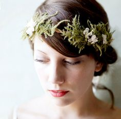 woodland bridal flower crown, bridal hair wreath, fern and ivory floral headpiece, wedding hair crown, woodland weddings on Etsy, £44.07