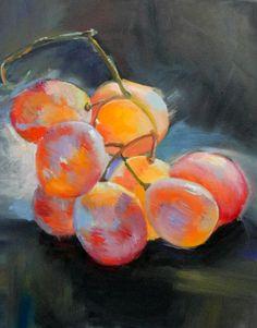 """""""Uvas"""" - Pintura a óleo sobre tela inspirado em trabalho retirado do Pinterest (3ª etapa) (18/5/16)(*)"""