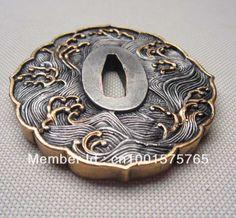 Tsuba wave , Solid copper brass for japanese samurai sword Katana T-36