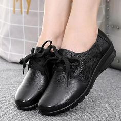 Women's Casual Shoes Women Old Mother Shoes Flats Cow Genuine Leather – Touchy Style Black Shoe Boots, Black Shoes Sneakers, Black Casual Shoes, Shoes With Jeans, Women's Casual, Flat Shoes, Leather Loafers, Shoes Women, Comfortable Shoes