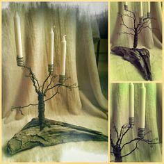 Krokpärla Luffarslöjd: Ljusträd på drivved