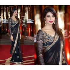 priyanka chopra morocco black net saree with black blouse bollywood Prices in India- Shopclues- Online Shopping Store