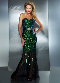 #RissyRoosProm Buy now Mac Duggal 85145M peacock strapless sequin prom dresses available now at RissyRoos.com.