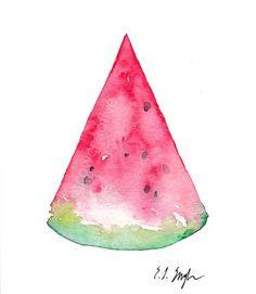 watermelon slice watercolor painting: growcreative
