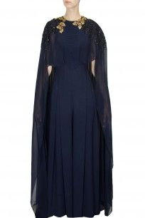 Navy and gold sequins embroidered cape jumpsuit