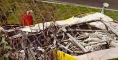 "The remains of Willi Kauhsen's 917/10 after a crash at ""Schwedenkreuz"" in 1972"