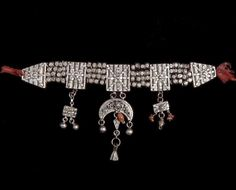 Syria   'Ghouta' Necklace worn by rural women in Damascus, Dimashq   Silver, coral, cornelian, glass  {Similar necklaces are worn by the Palestinian women in Hebron}
