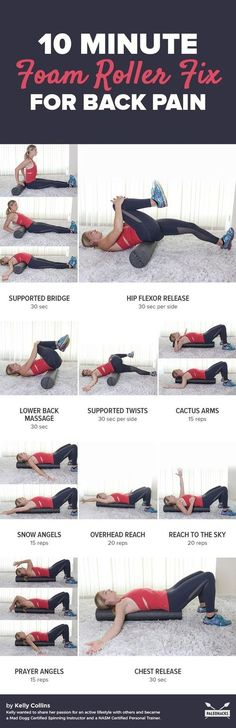 If you spend most of your day sitting at a desk or if you partake in a daily exercise program there is a high chance that you have experienced some sort of back pain at one point or another. This quick foam roller fix can help relieve tightness. Fitness Workouts, Yoga Fitness, Fitness Tips, At Home Workouts, Health Fitness, Fitness Goals, Foam Roller Exercises, Back Pain Exercises, Yoga Exercises