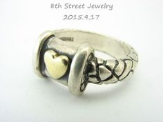 Alejandro-Toussier-Sterling-Silver-925-Textured-Golden-Heart-Band-Ring-Size-5-75