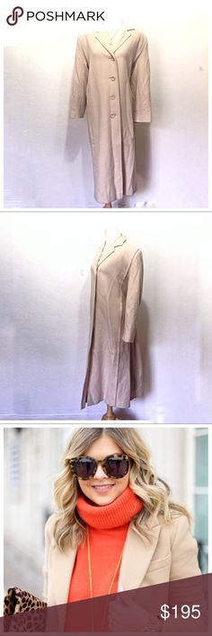 """Vintage 100% Cashmere Long Ivory Winter Coat Gorgeous true Vintage Amicale for Fleurette 100% Cashmere coat.   In excellent condition. No flaws. Ivory/Cream incredibly soft cashmere shell fully lined in luxuries gold satin. 2 satin lined side pockets  Made in US by The International Ladies' Garment Workers' Union (ILGWU)  No size label estimate women's size M/L  Open front w buttons  Fully lined- soft, satin feel light gold color Two pockets (satin lining)  19"""" across chest 22""""sleeves…"""