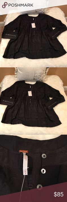 Free people black colored flared blouse-OBO Free people black colored flared blouse Free People Tops Blouses