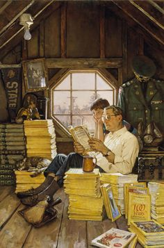 Attic Scene by James Gurney. Gurney is the artist and author best known for his illustrated book series Dinotopia. He taught himself to draw and paint realistic images by reading books about illustrators Norman Rockwell and Howard Pyle. Peintures Norman Rockwell, Norman Rockwell Art, Norman Rockwell Paintings, Howard Pyle, Reading Art, Reading Time, Reading Books, Pics Art, Caricatures