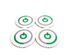 Xbox drinks coasters, cork backed, hama bead, perler bead geekery, video game bead art