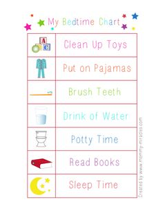 Bedtime Chart for toddlers. Give them responsibility to get them into bed easier.