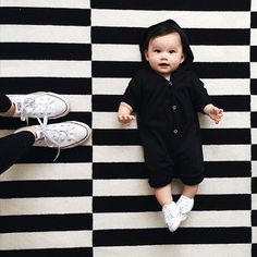 So many heart eyes for this little monochrome munchkin in our Onyx Hoodie Jumper!