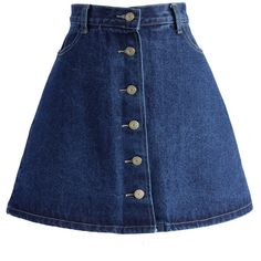Chicwish Button up A-line Denim Skirt ($42) ❤ liked on Polyvore featuring skirts, bottoms, blue, blue denim skirt, button up skirt, crop skirt, a line skirt and button down skirt