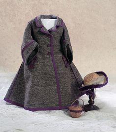 "Theriault's Antique Doll Auctions - Cashmere Dress With Matching Bonnet, Circa 1860 Bonnet is lined and signed with the stamp of ›Herbillon, Au Calife de Bagdad, 15 Rue du Choiseul"" a luxury doll shop, it operated in Paris from 1852-1866 under the direction of Madame Herbillon. Shop featured the finest of doll costumes, trousseaux and accessories from couturiers and small studios throughout Paris. Also included is a small straw basket with purple straw border."