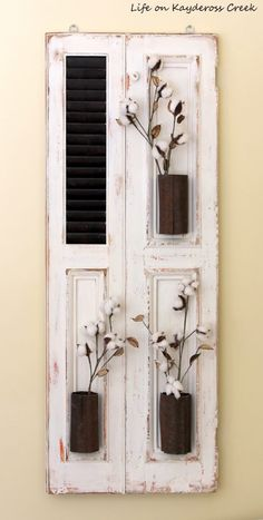 Farmhouse Wall decor - Old shutter turn fixer upper style wall decor - Life on Kaydeross Creek