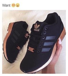 separation shoes b7ff1 ef465 shoes adidas adidas shoes black sneakers adidas zx flux adidas originals  gold black cute Black Adidas