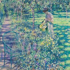 An Improvised Flower Basket - Louis Ritman American, oil on canvas x in American Impressionism, Modern Impressionism, Artist Biography, Visit France, Art Institute Of Chicago, Flower Basket, Best Friend Gifts, Art Auction, American Artists
