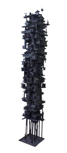 title: Two Towers (black) / size: 2300 x 500 x 500 mm / medium: Mixed Media etc Wall Sculptures, Sculpture Art, Black Architecture, Installation Art, Altered Art, Game Art, Fantasy Art, Cool Art, Contemporary Art