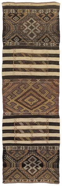 Striped Over Dyed Kilim Rug 2'2'' x 6'12'' ft 66 x 213 cm
