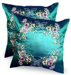 Thaimart Beautiful Flower One pair Cover Pillow Beautiful Flower Throw Cushion Cover/pillow Case Handmade By Satin and Thai Silk for Decorative Sofa, Car and Living Room Size 16 X 16 Inches by Thaimart Pillow. $21.69. Full-length hidden zipper allows for easy insertion or removal of a cushion.. Revive the old pillow look the brilliant than the original.. Satin & Thai silk. Size 16 x 16 inches (Cushion cover only, Without Pillow).. Vivid decorative accessory will add an...