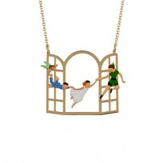 Peter Pan and the Darling children flying to the Neverland by N2 Les Nereides necklace