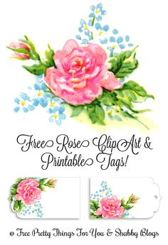 #free #printable #vintage #rose #tags & #clipart