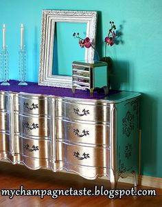 Champagne Taste: - If Gold Is Expensize then My Silver Leaf Is Priceless ; Using silver leaf. I think the spray painting looks fairly good too! Furniture Projects, Furniture Making, Furniture Makeover, Diy Furniture, Furniture Refinishing, Refinished Furniture, Dresser Makeovers, Luxury Furniture, Diy Projects