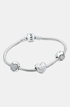 PANDORA 'Sparkle of Love' Boxed Pavé Bangle Bracelet Gift Set available at #Nordstrom