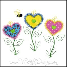 Heart Flowers applique machine embroidery designs.  So cute!  Created with the heart from the AccuQuilt GO! Home die (55379) or simply applique the regular way.  Appliques are so easy.  Happy Stitching!