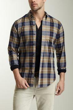 Vince Men Large Check Button Front Shirt