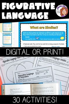 Figurative language is SUCH a fun English language arts topic to tackle with students! Kids love learning about onomatopoeias, hyperboles, idioms, personification, and more because they tend to be so silly and fun to read and write. This resource pack includes a variety of printables or Google Classroom digital versions that you can use to teach and practice figurative language in your upper elementary classroom. You definitely want to click through to grab this ELA activity pack for your class! Writing Resources, Teaching Writing, Reading Strategies, Reading Comprehension, English Language Arts, English Words, Figurative Language Activity, 4th Grade Reading, Mentor Texts