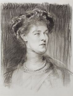 Charcoal sketch of Violet, Countess of Powis, by John Singer Sargent, 1912, at Powis Castle, Powys. ©NTPL/John Hammond
