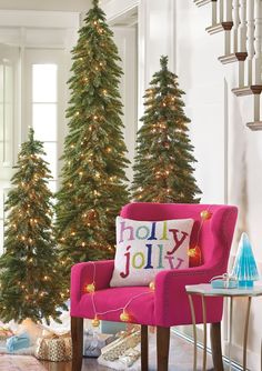 Our magnificent Down-swept Slim Pine Christmas Trees are such a space-saving wonder, 3 trees approximate the footprint of just a single standard-sized tree. The extra slender design is expressly made for bringing full-sized Christmas tree majesty to challenging spaces, like dining rooms, foyers, or halls --- any place a traditional tree won' fit.