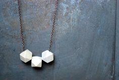 White geometric Wood Necklace  Boho Necklace  Everyday by Mmim, $30.00
