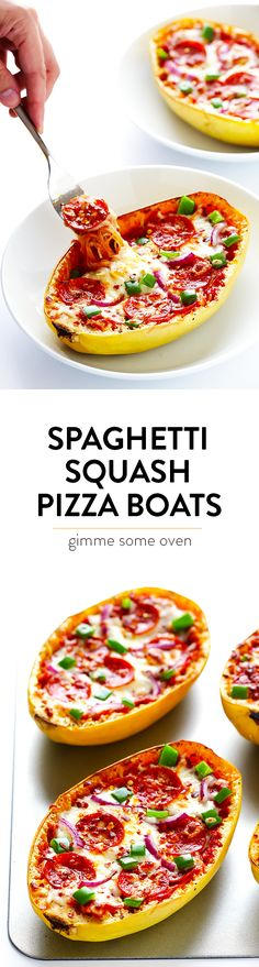These Pizza Spaghetti Squash Boats are easy to make, fun to customize with your favorite pizza toppings, and absolutely delicious! | gimmesomeoven.com (Gluten-free)
