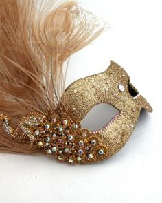 monsoon champagne gold peacock feather masquerade mask
