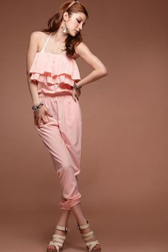 Pretty Strapless Layered Lotus Leaf Jumpsuit Pink