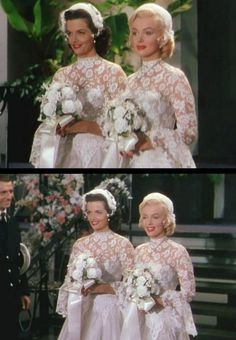 "Jane Russell and Marilyn Monroe in ""Gentlemen Perfer Blondes"", Marilyn Monroe Wedding, Norma Jean Marilyn Monroe, Marilyn Monroe Photos, Jane Russell, Gentlemen Prefer Blondes, Golden Age Of Hollywood, Vintage Hollywood, Old Celebrities, Wedding Movies"
