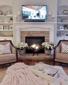 Home Renovation Living Room 40 Best Modern Farmhouse Fireplace Mantel Decor Ideas - 40 Best Modern Farmhouse Fireplace Mantel Decor Ideas Living Room With Fireplace, Home Living Room, Living Room Designs, Fireplace With Built Ins, How To Design Living Room, Tv Over Fireplace, Living Room Setup, Bedroom Fireplace, Kitchen Living