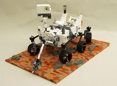 Chemist Tim Goddard built this Lego model of the Mars Science Laboratory, also known as Curiosity, to celebrate the 50th anniversary of Yuri Gagarin's first space flight and the last Shuttle mission. The model was displayed at the National Space Center in the U.K.