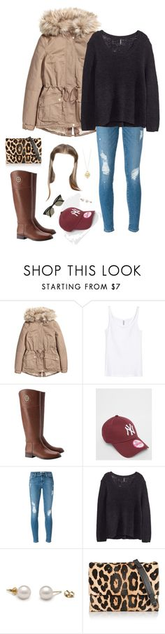 """""""🍂🍂🍂"""" by xofashionismylovexo ❤ liked on Polyvore featuring H&M, Tory Burch, New Era, Frame, Tiffany & Co., Lanvin and Ray-Ban"""