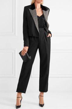 SAINT LAURENT stylish Wool grain de poudre wide-leg pants